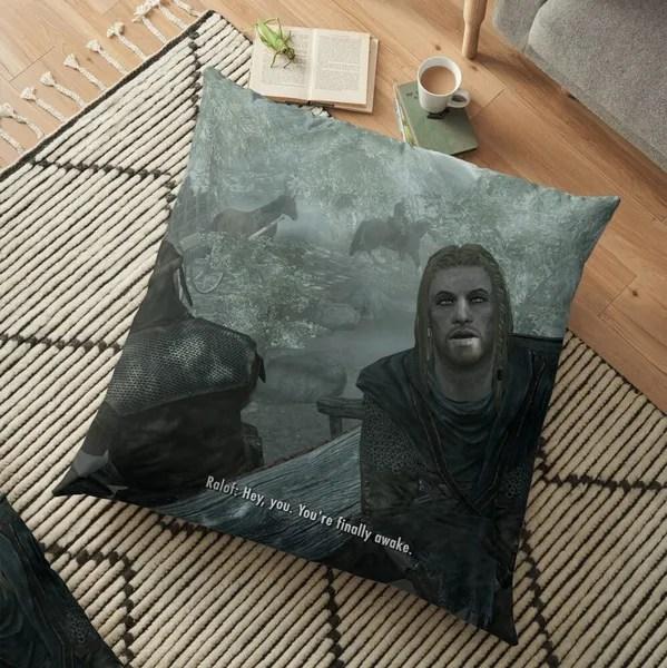 skyrim pillow hey you you re finally awake sofa bed home decor pillow case cushion cover gifts wish