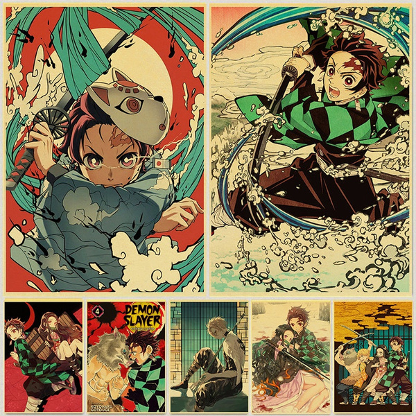 anime demon slayer kimetsu no yaiba cool retro poster prints kraft paper wall art home room decor wish