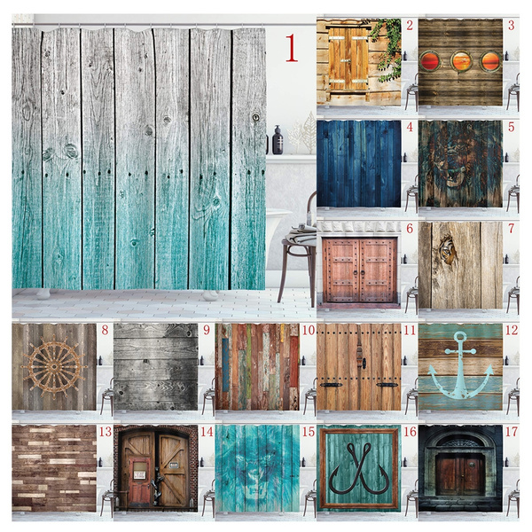 wooden shower curtain american native country farm style design bathroom decoration shower curtains 66 x72 polyester fabric waterproof bath curtains