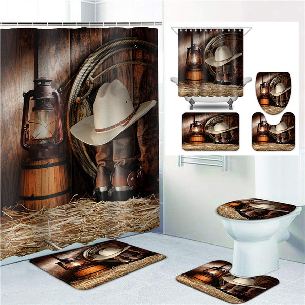 western theme cowboy bathroom decoration shower curtain sets with non slip rugs toilet lid cover and bath mat home decor waterproof polyester fabric