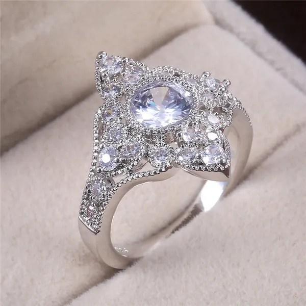 925 Sterling Silver Ring Girlfriend Birthday Present Classic Style Diamond Jewelry Ring For Women Anniversary Jewelry Gift Wish