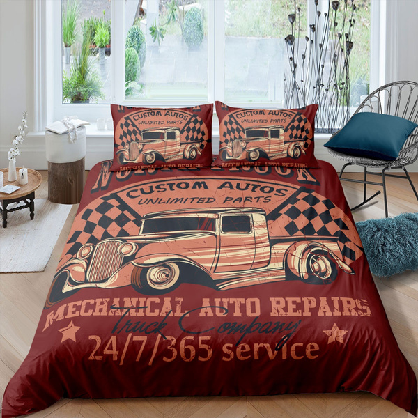 truck printed bedding set for kids teen men vintage car duvet cover set custom autos poster pattern design quilt cover retro themed decorative 2 3
