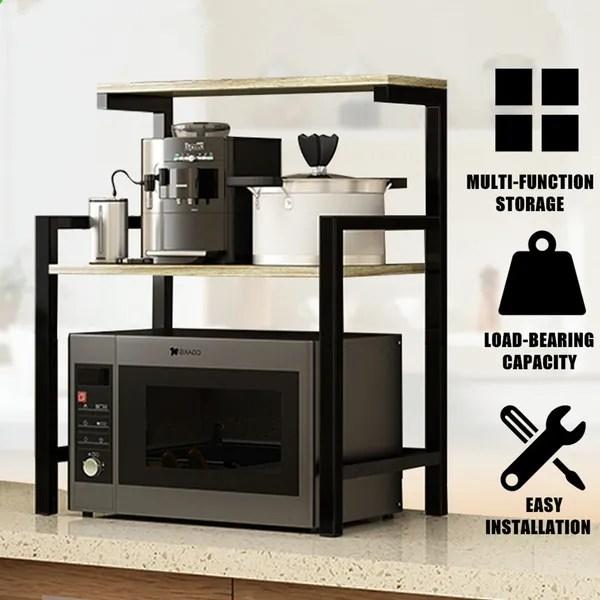 2 tier metal wooden microwave oven stand shelf storage rack kitchen storage organiser holder wish