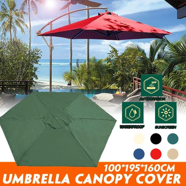without pole only cover 100x195cm patio garden outdoor umbrella top canopy parasol tent cover waterproof anticorrosion wind resistance sunshade