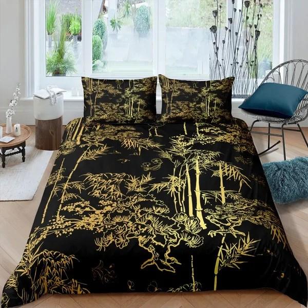 luxury black gold bedding set bamboo comforter cover set for man woman senior bedroom eastern botanical duvet cover set oriental gift quilt cover