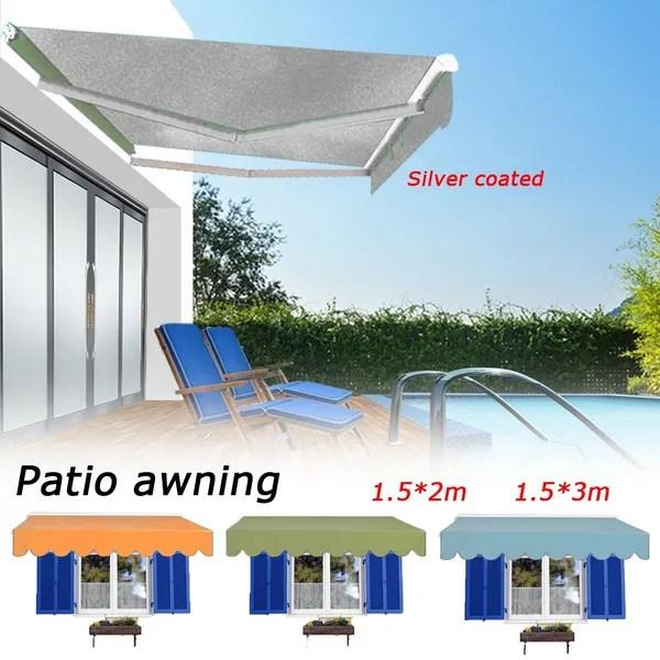 patio diy manual awning garden canopy sun shade retractable shelter top fabric wish