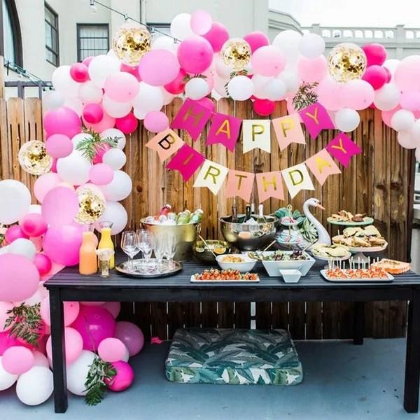 85pcs Rose Pink Happy Birthday Decorations Set Hot Pink Gold Happy Birthday Banner Rose Pink White Gold Confetti Balloons Garland Kit For Girl Birhday Party Decorations Wish