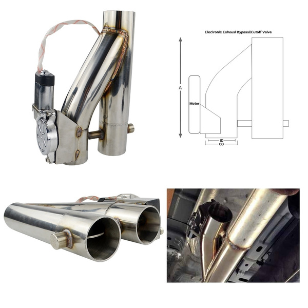 universal 2 2 5 3 double valve electric exhaust cut out valve exhaust pipe muffler kit with wireless remote control wish