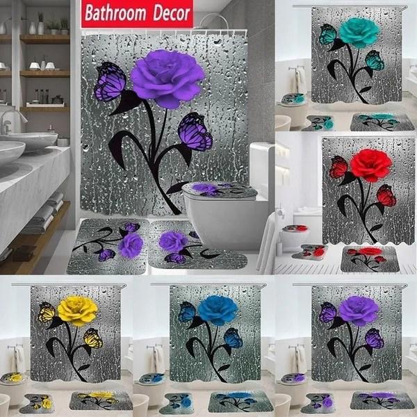 5color butterfly rose 1 3 4pcs bathroom decoration waterproof bathroom shower curtain mats rugs set bathroom carpets toilet lid cover floor mats