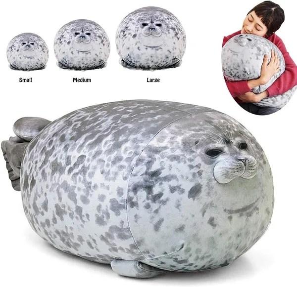 plush animal seal pillow cute soft hugging pillows chubby seal stuffed toy wish