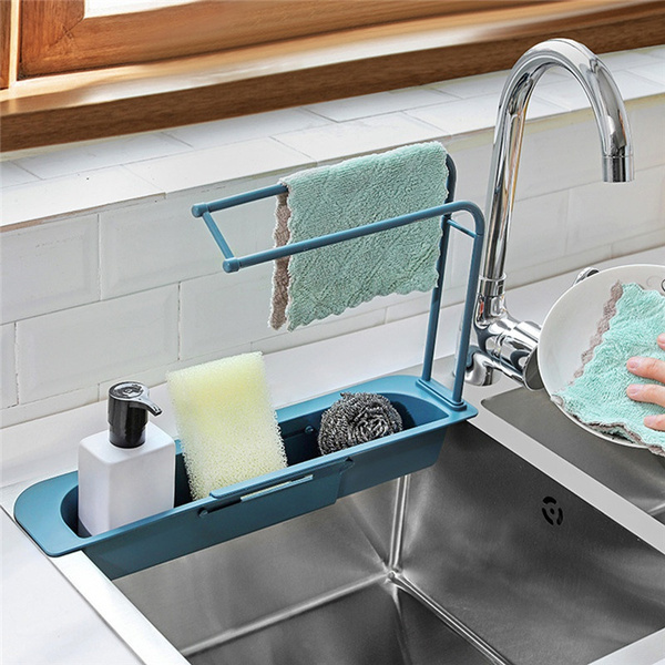 dishwashing cloth retractable storage rack kitchen supplies rack retractable sink rack expandable water storage basket suitable for household kitchens