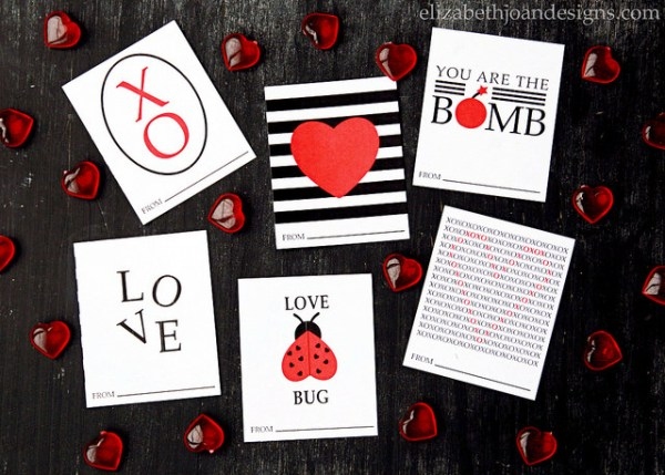 Printable Valentine's Day Cards from Elizabeth Joan Designs