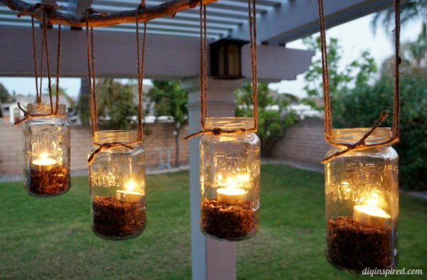 DIY-Outdoor-Mason-Jar-Chandelier from DIY Inspired