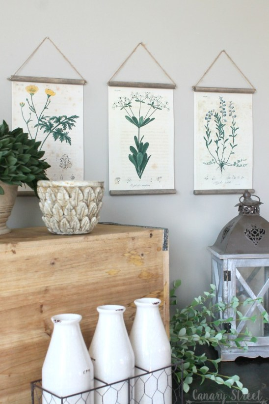 Easy DIY botanical print wall hanging using free botanical printables. https://canarystreetcrafts.com/