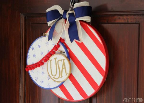 Patriotic Embroidery Hoop Wreath {Average But Inspired}