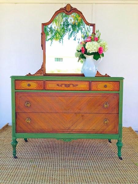 Vibrant Green Milk Paint Dresser {D.D.'s Cottage and Design}