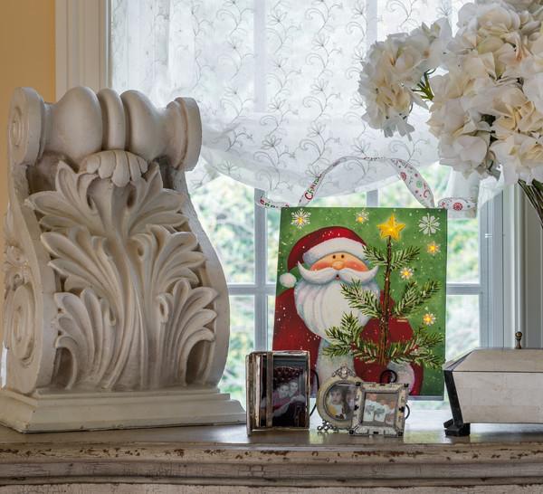 Christmas Santa LED Laser Printed Art On Canvas {Mollie's Market}