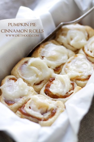 Pumpkin Pie Cinnamon Rolls.  Recipe from Diethood.com