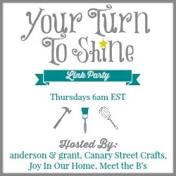 Your Turn To Shine weekly link party  www.canarystreetcrafts.com