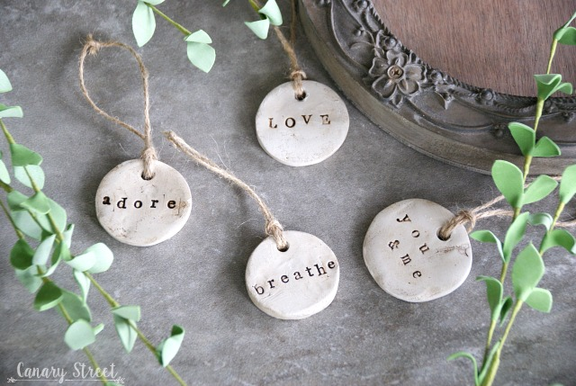 Simple DIY tags made with air dry clay. https://canarystreetcrafts.com/