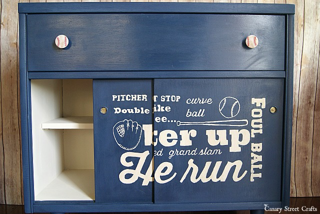 MCM baseball subway art cabinet {Canary Street Crafts}