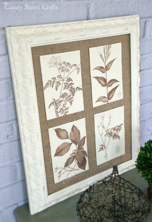 DIY-burlap-framed-botanical-wall-art