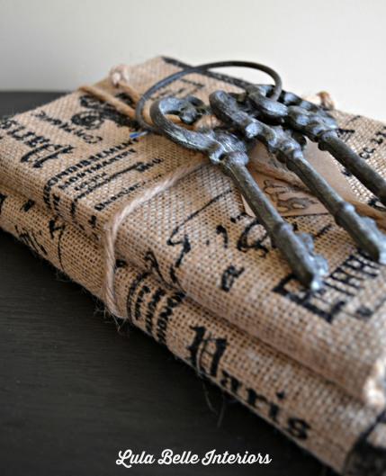 burlap book bundles from Lula Belle Interiors