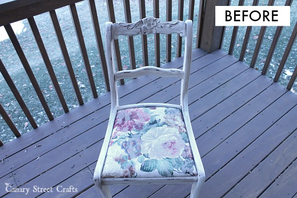 "Upcycled chair painted in Annie Sloan ""Old White"" chalk paint.  {Canary Street Crafts}"