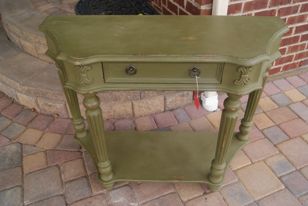 "BEFORE pic. Console table painted with Annie Sloan ""graphite"" and hand painted graphic.  {Canary Street Crafts}"