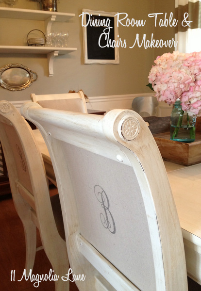 Dining Room Table & Chairs Painted White {11 Magnolia Lane}