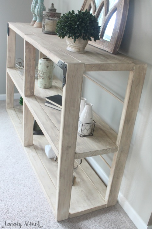 Easy DIY Rustic Shelf. Build your own with free plans and step by step instructions. http://canarystreetcrafts.com/