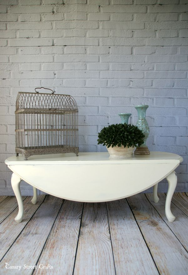 """Drop leaf coffee table painted with Annie Sloan chalk paint """"Old White""""."""