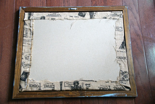 Tutorial explaining how to easily update a plain cork board with burlap or fabric. canarystreetcrafts.com