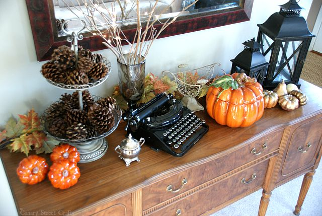 Easy and inexpensive fall decorating ideas. Pinecones and branches from the yard. Dollar store & Fall Decorating Ideas - Canary Street Crafts