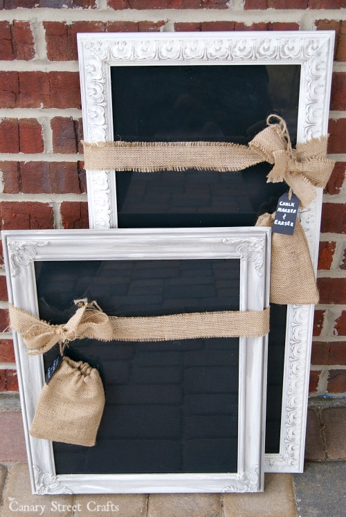 Dry erase board made from an old frame and black paint.  Use a chalk marker to give the look of a chalkboard without the chalk dust mess.  {Canary Street Crafts}
