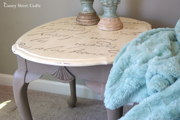 French Script Stenciled Tables Canary Street Crafts