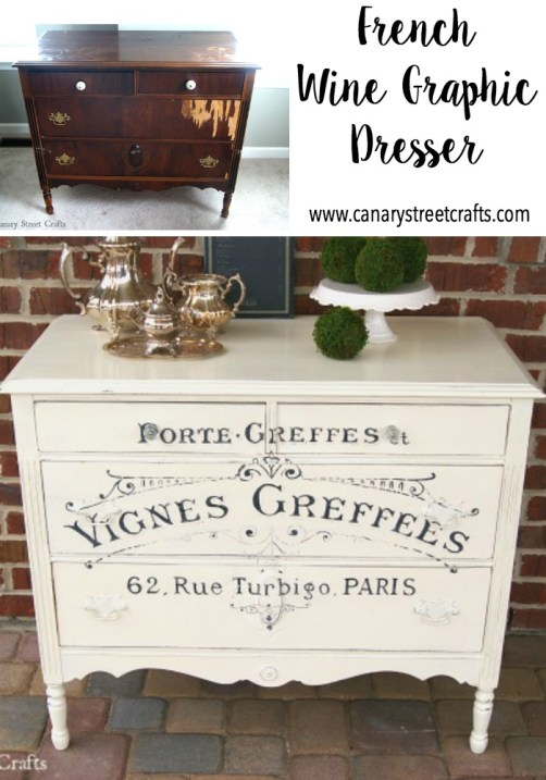 Love this hand painted French wine graphic dresser! Great instructions for painting furniture and custom graphics on this site! https://canarystreetcrafts.com/