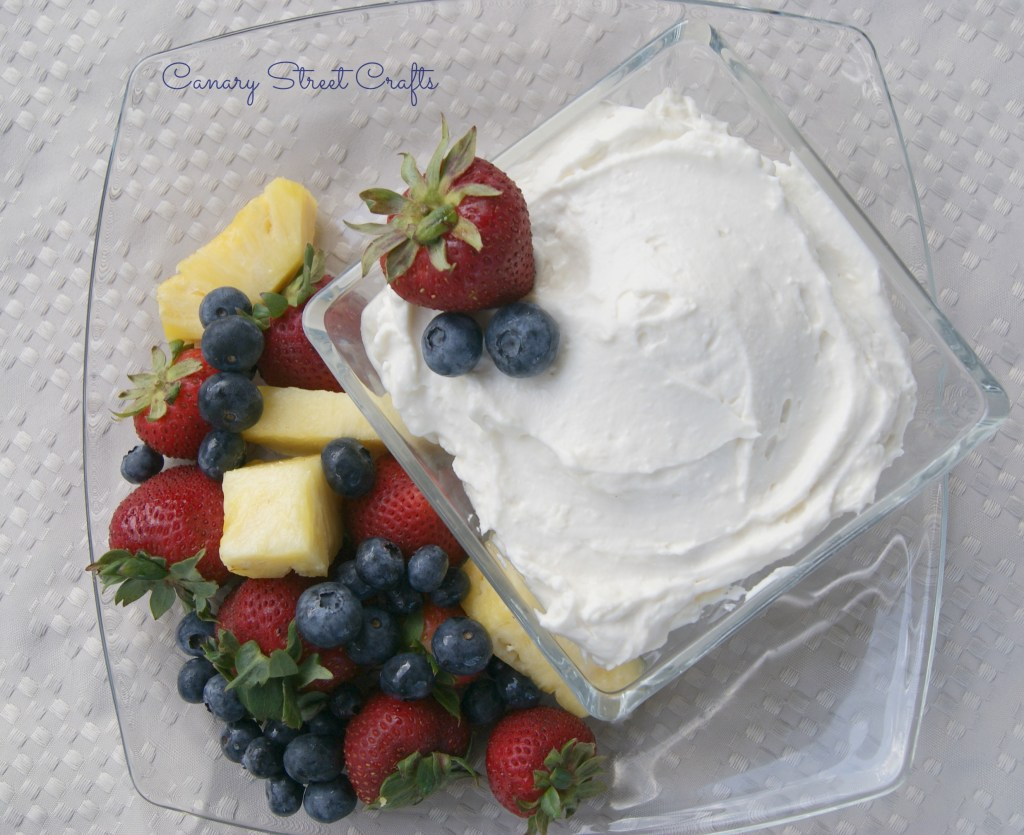 Cream Cheese Fruit Dip.  Made with no refined sugar.  -Canary Street Crafts