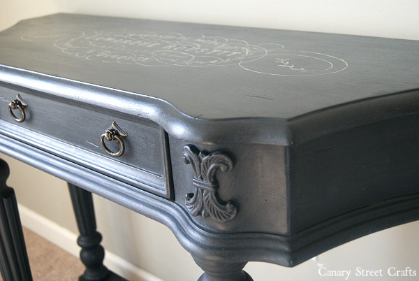 "Console table painted with Annie Sloan ""graphite"" and hand painted graphic.  {Canary Street Crafts}"