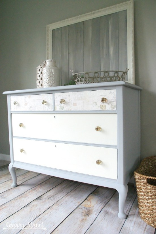 Pretty grey and white dresser makeover.  The top drawers are decoupaged.  Full tutorial plus lots more furniture makeovers and painting tips.  https://canarystreetcrafts.com/