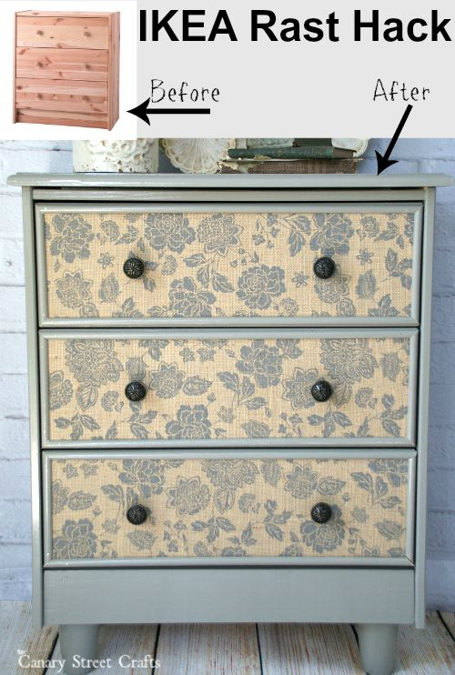 IKEA Rast Hack. Check out how we transformed a $34 IKEA Rast into this pretty dresser with burlap drawer fronts. {Canary Street Crafts}