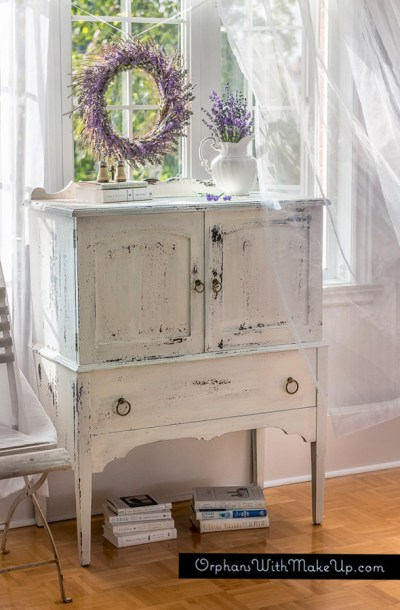 Gorgeous chippy cabinet makeover from Orphans With Makeup