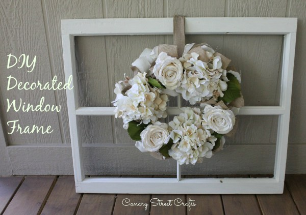 Vintage wooden window frame and DIY wreath tutorial.  -canarystreetcrafts.com