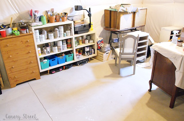 Thoughts on painting furniture in a less than ideal workspace. https://canarystreetcrafts.com/