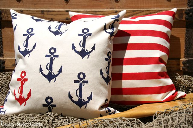 DIY stenciled pillows.  Make your own unique throw pillows with fabric paint and a stencil. {Canary Street Crafts}