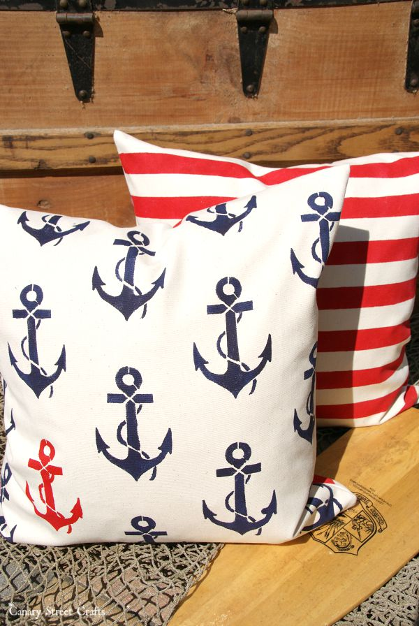 DIY stenciled pillows.  Make your own unique throw pillows with Paint-A-Pillow. {Canary Street Crafts}