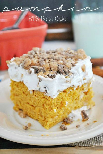 Pumpkin BTS Poke Cake from {Something Swanky}