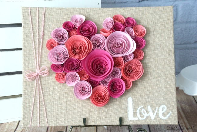 Easy spiral paper flower heart canary street crafts curl paper flowers and glue them to a burlap canvas would be cute for valentines mightylinksfo