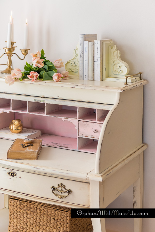 A Touch Of Pink.  Gorgeously Feminine Roll-Top Desk Makeover from Orphans With Makeup