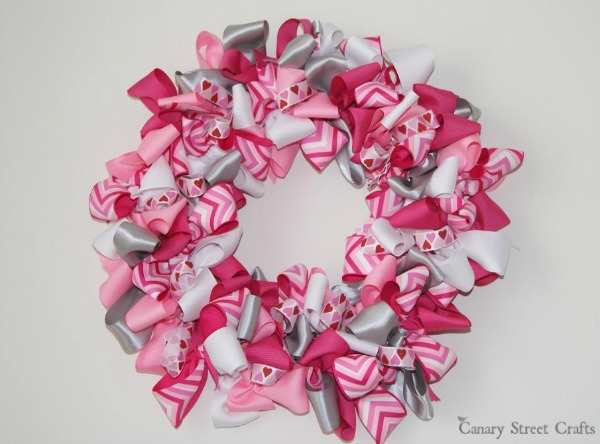 Easy Valentine S Day Ribbon Wreath Canary Street Crafts